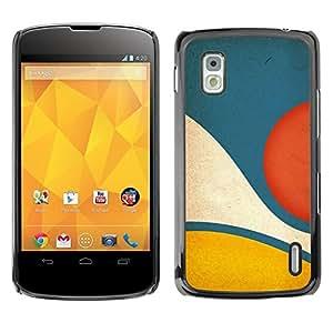 FECELL CITY // Duro Aluminio Pegatina PC Caso decorativo Funda Carcasa de Protección para LG Google Nexus 4 E960 // Blue Yellow Pastel Abstract Minimalist