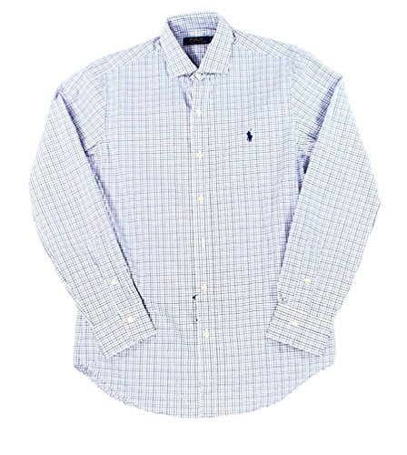 Ralph Lauren Men's Estate Checked Pony Logo Button-Down Shirt (L, (Wide Collar Poplin Shirt)