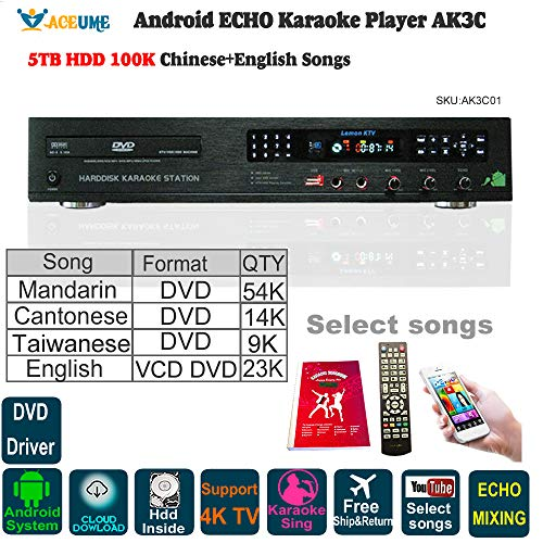 (5TB HDD, 100K Chinese+English Karaoke Songs, Android HDD Karaoke Player/Jukebox,Cloud Download,ECHO Mixing,DVD Driver. Remote Contoller,Youtube songs selected)