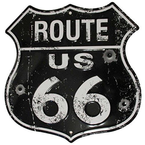 Black Route 66 Vintage Metal Sign with Bullet Holes – Distressed Reproduction of the Old U.S. Rt. 66 Shield (Weathered Metal Sign)
