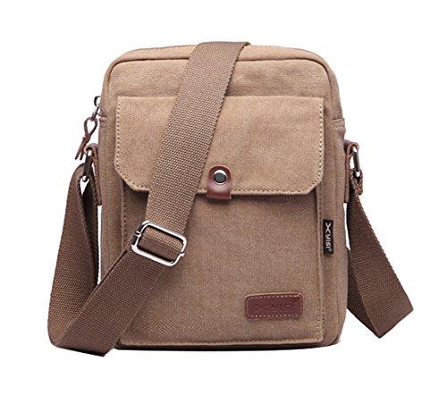 Genda 2Archer Pequeña Cross-body Bag Lona Bolso de hombro ipad para Hombres Mujeres Adolescentes (caqui) caqui