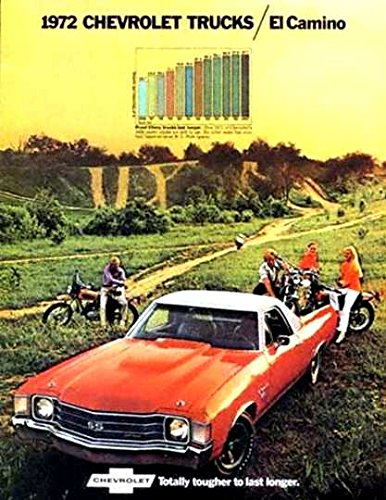 FULL COLOR 1972 CHEVROLET EL CAMINO TRUCK DEALERSHIP SALES BROCHURE - CHEVY ADVERTISMENT LITERATURE 72