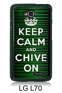 Lovely And Unique Designed Case For LG L70 With Keep Calm and Chive on Black Phone Case