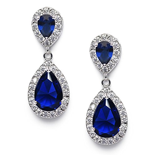 le Earrings for Brides,Cubic Zirconia Drop Earrings for Women - Prom,Pagegant,Wedding Jewelry, Sapphire ()