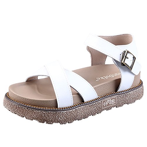 Wealsex Women's Ladies Flat Ankle Strap Buckle Leather Cross Strap Roman Sandals Peep Toe Thick Bottom Summer Shoes Casual Comfortable Size UK 2.5-8 White