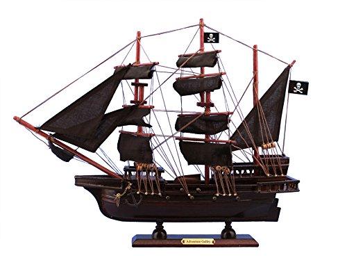 Hampton Nautical Wooden Captain Kidd's Adventure Galley Model Pirate Ship, 15