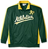 MLB Oakland Athletics Men's Tricot Poly Track Jacket, X-Large Tall, Dark Green/Yellow