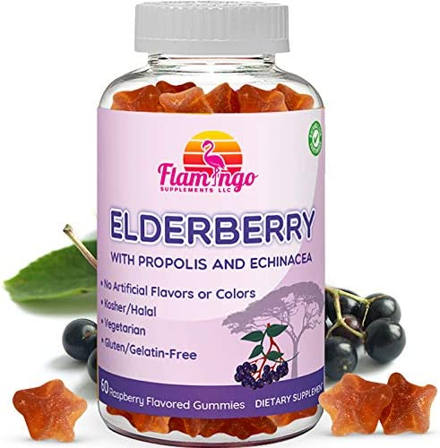 Elderberry Gummies Enhanced with Vitamin C, Propolis, Echinacea for Kids and Adults. No Gelatin – Kosher and Halal. Raspberry Flavor. 60 Count
