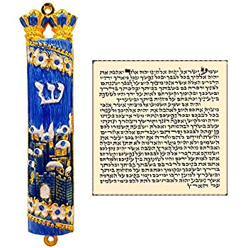 Amazon Com Talisman4u Blue Enamel Mezuzah Case With