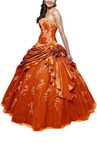 Tuell Klassisch Ballon A Ballkleid Traegerlos Taft Gorgeous Orange Bride Abendkleid Lang Linie 4w58WBqn