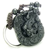Amulet Sandal Wood Magic Dragon Lucky Feng Shui Coins Good Luck Powers Keychain