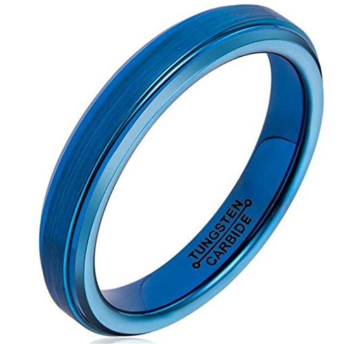 [Bishilin Tungsten Carbide Wedding Band Ring Blue Brushed Center 4MM for Women Men Comfort Fit,Size] (Arab Money Costume)
