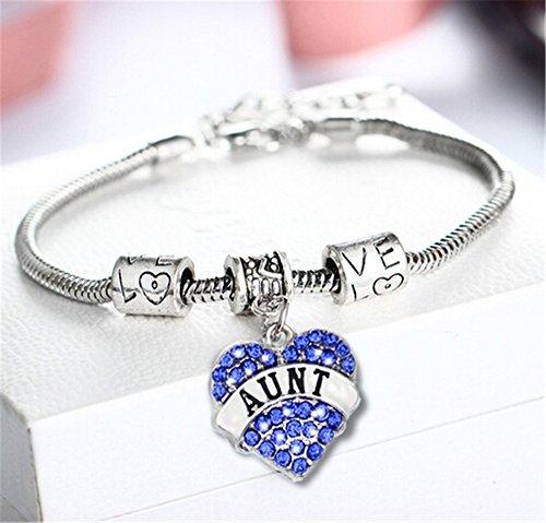 Bracelet Family Crystal - Fusicase Bling Crystal Silver Hearts Metal Family Member Bracelets(Aunt Blue)