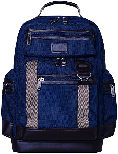 LEHANZ Multi Pockets Laptop Backpack Slim Waterproof Durable Travel Bag for 15.6 17 Inch Computer, Navy