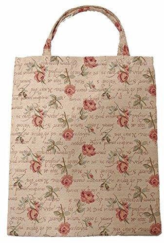 Praktische Stofftasche (klein) Einkaufstasche (im Gobelin Stil) Rote Rose