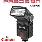 Precision Design DSLR300 Universal High Power Auto Flash with Zoom/Bounce/Swivel Head for Canon EOS 6D, 70D, 7D Mark II, Rebel T3, T3i, T5, T5i, T6i, T6s, SL1 Camera