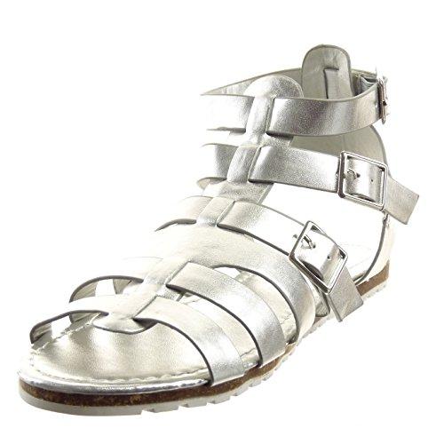 Sopily - damen Mode Schuhe Sandalen Römersandalen Schleife metallisch Multi-Zaum - Silber