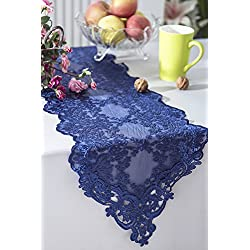 "Wedding Linens Inc. 13"" x 108"" Lace Floral Corded Table Runner Embroidered Table Runners for Wedding Decoration Events Banquet Party Supplies - Navy Blue"