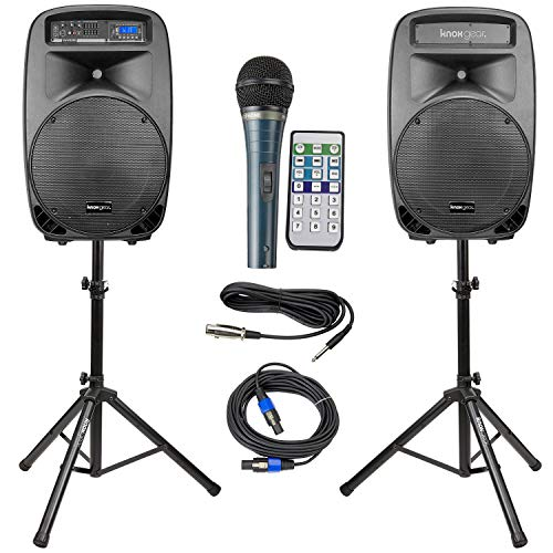 Knox Dual 15'' Speakers, 600 Watt - 8 Piece Portable PA System - Microphone, Tripods, Remote Control - Bluetooth, USB, SD Card, RCA and 1/4'' Inputs - Colorful LED Lights by Knox Gear (Image #7)