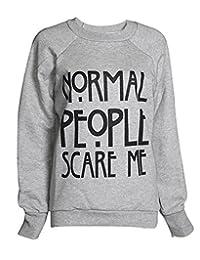 FashionMark Women's Normal People Scare Me Print Fleece Sweatshirt Hoodie