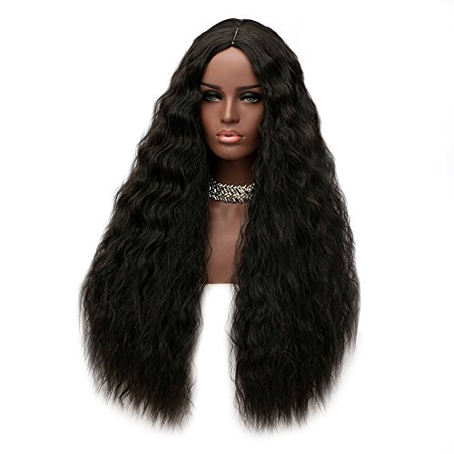 "Price comparison product image ShakeLady 31"" Female Long Middle Part Shaggy High Density Deep Curly Synthetic Wig for African Women"
