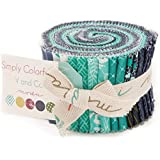 """Moda SIMPLY COLORFUL II BLUE Junior Jelly Roll 2.5"""" Precut Cotton Fabric Quilting Strips Assortment V and Co. 10850JJRB"""