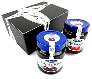 Hero Premium Fruit Spreads 2-Flavor Variety: One 12 oz Jar Each of Black Cherry and Red Currant in a BlackTie Box (2 Items Total)
