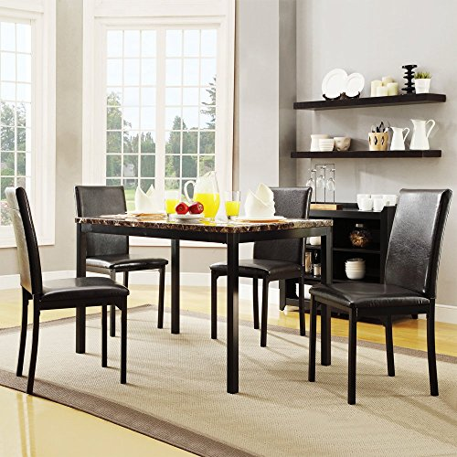 Homelegance Tempe 5-Piece Metal Table with Faux Marble Top Dining Set - Dark