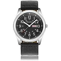 Youwen Luxury Brand Military Watches Men Quartz Analog Canvas Clock Sports Watches Army Military Watch(Black)