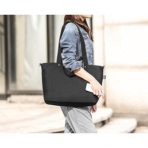 Bonthee Shopper Work Travel Shoulder Bag Women Black For School Large Canvas Tote Handbag qxwqrT1U
