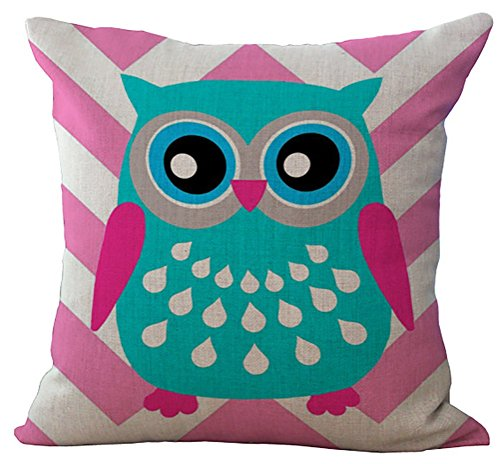 (RS-pthrA2 Linen Blend Rural Style Owl Pattern Cushion Cover Cotton Pillowslip Square Decorative Throw Pillow Case 18 X 18'')