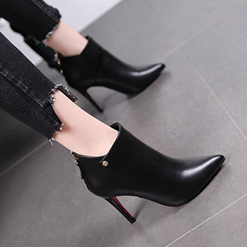 Boots Boots High Boots A And Waterproof Martin Black New After Suede Winter Zipper The Stilettos Heels MDRW BvTg4zq6T