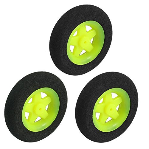 3pcs lectrique Avion RC Partie ponge roue des pneus D30mm H7mm Noir Lime