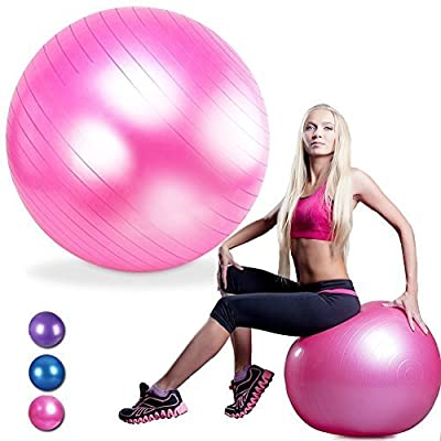 ELSKY Anti Burst Stability Exercies Ball 55cm / 65cm / 75cm With Pump, Yoga Ball, Fitness Swiss Ball, Gym Ball best for Weight Loss, Core Strength, CrossFit, Yoga & Pilates 2000lbs Weight Capacity