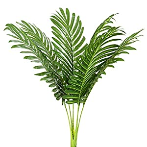 6pcs Artificial Palm Plants Leaves Imitation Leaf Artificial Plants Green Greenery Plants Faux Fake Tropical Large Palm Tree Leaves for Home Kitchen Party Flowers Arrangement 1