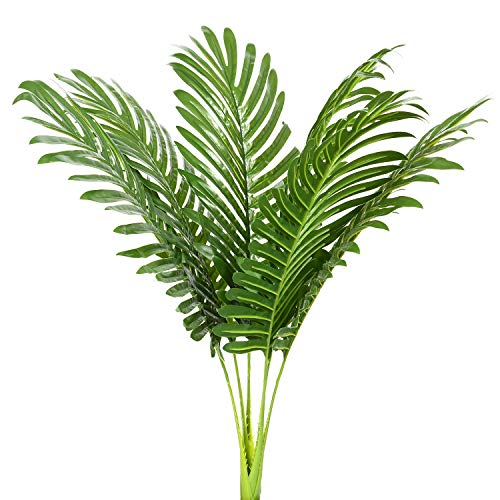 6pcs Artificial Palm Plants Leaves Imitation Leaf Artificial Plants Green Greenery Plants Faux Fake Tropical Large Palm Tree Leaves for Home Kitchen Party Flowers Arrangement Wedding -