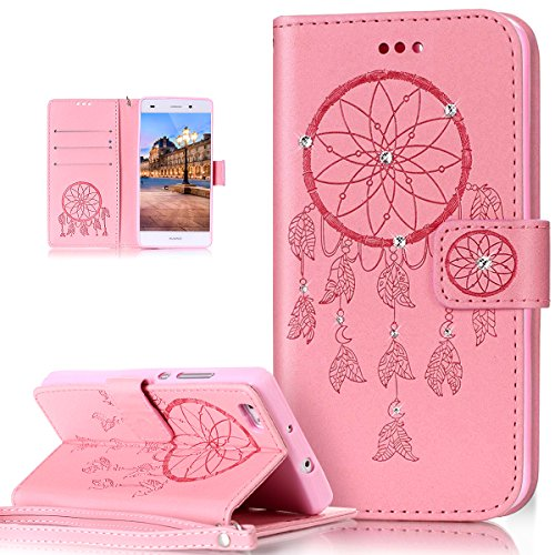 Price comparison product image Huawei P8 Lite 2017 Case,ikasus Glitter Diamond Embossing Flower Skull Campanula PU Leather Flip Wallet Pouch Stand Credit Card ID Holders Case Cover for Huawei P8 Lite 2017,Dreamcatcher Pink