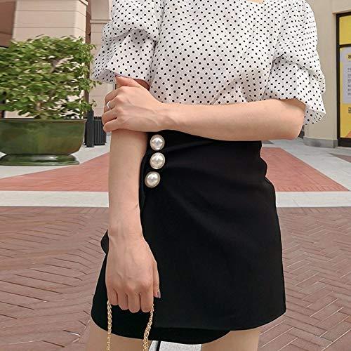 DQHXGSKS Falda de Perlas fruncidas para Las Mujeres de Cintura ...