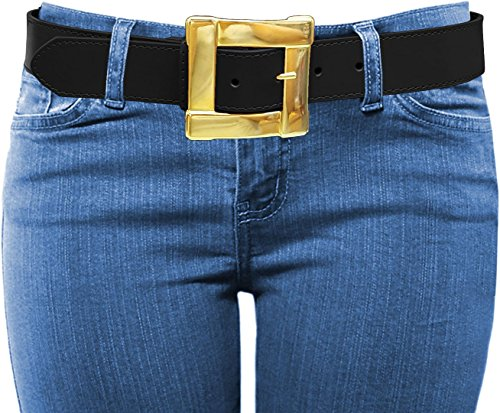 Luna Sosano Women's Thick Wide Gold Square Buckle Leather Dress Belt - (Square Buckle Belt)