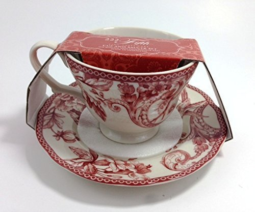 222 Fifth Adelaide Maroon Cup and Saucer Set