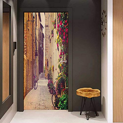 - Onefzc Door Wallpaper Murals Cityscape Street in Pienza Tuscany Italy with Hanging Basket Plants Flowers Bicycles Picture WallStickers W30 x H80 Red Green