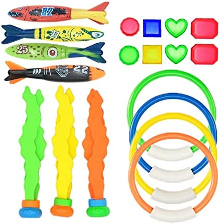 19 pcs Diving Pool Hand-catching Toys for Kids 5-12 Years Old One Set Includes 4 Rings 4 Torpedo Bandit 3 Seaweeds 8 Jewel Gems