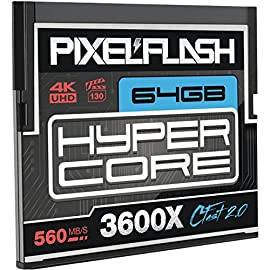 PixelFlash HyperCore CFast 2.0 Non-Stop Memory Card 3600X up to 560MB/s SATA III C Fast for Leica URSA Alexa Mini Canon, Metallic 108 VIDEO PERFORMANCE GUARANTEE: 64GB CFast 2.0 from PixelFlash - True VPG-130. Matches or Exceeds Lexar and Sandisk in quality & speed. Guaranteed FASTEST TRANSFER SPEED ON THE MARKET - 560+ Mb/s Read up to 550Mb/s Write 3600x Memory Speed - Fastest 64GB C-Fast Available DSI(TM) LABORATORY CERTIFIED FLASH MEMORY: 100% Free of Errors and Defects - Never receive a faulty memory card again