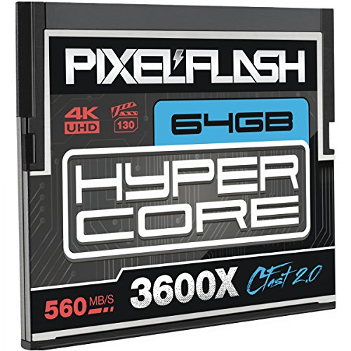 Digital Film Compactflash Card - 64GB PixelFlash HyperCore CFast 2.0 Memory Card 3600X up to 560MB/s SATA3 C Fast for Phase One, Leica, Canon, Hasselblad, Blackmagic Ursa and More