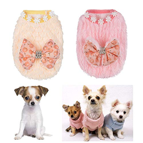 FidgetGear Cute Teacup Dog Clothes Soft Fleece Hoodie Coat for Cat Chihuahua Yorkie Maltese Pink Bow tie XXS