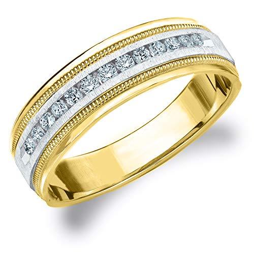 .25CT Heritage Men's Diamond Ring in 14K Two Tone Gold Satin Finish - Finger Size 8.25 (Tiffany Tone Ring Two)