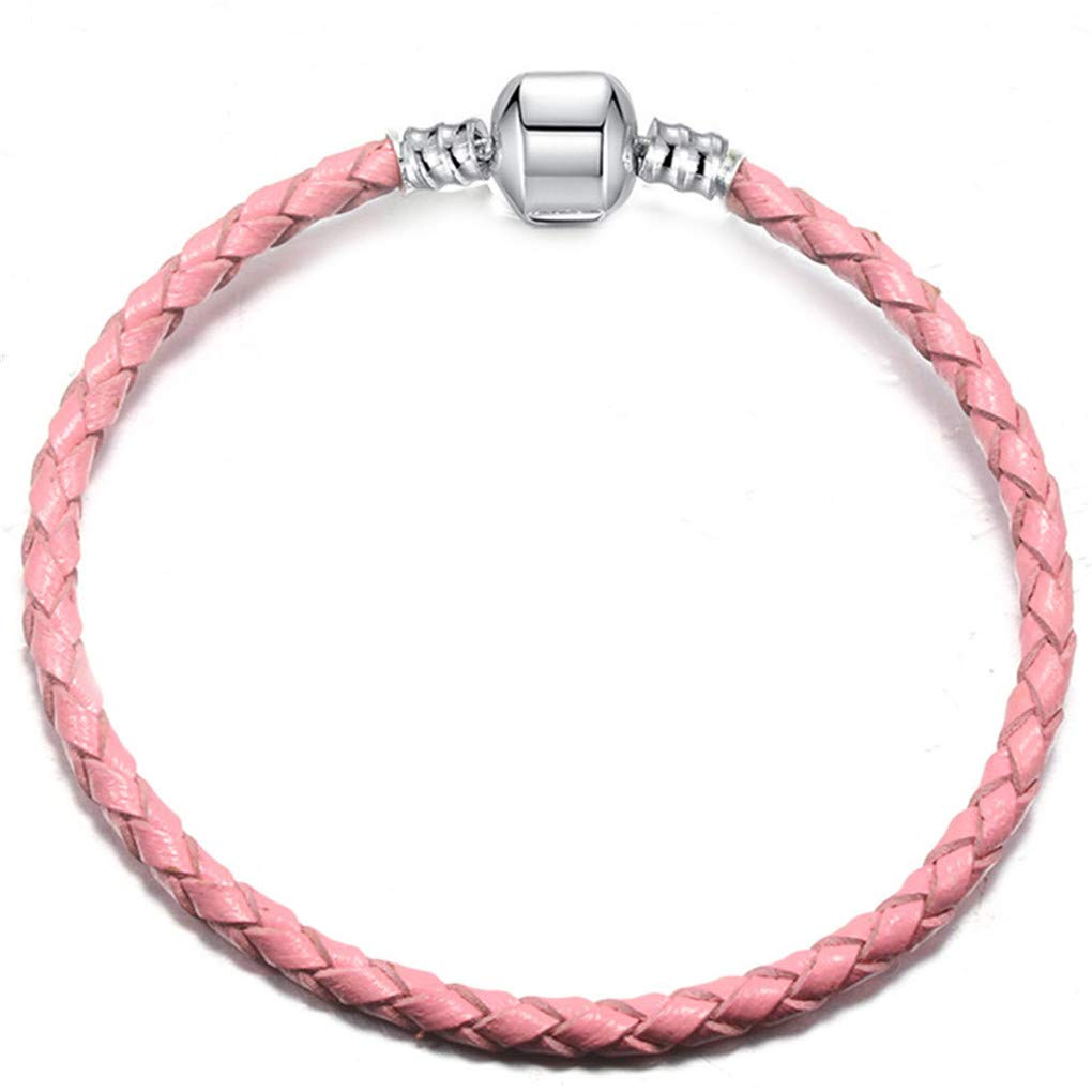 DARLING HER 9 Colors Leather Chain Charm Bracelets with DIY Fine Bracelet for Women Girls Jewelry Gift Pink 20cm