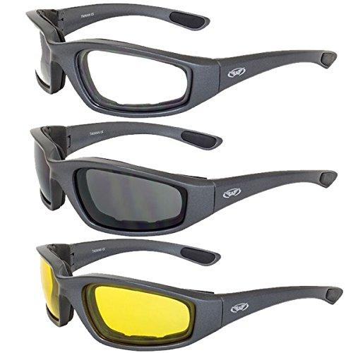Global Vision Kickback Foam Padded Motorcycle Sunglasses Gunmetal 3 - Guide Sunglasses Fit