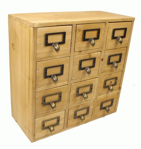 City Five Drawer Chest (Geko 35 x 15 x 34 cm Mini Trinket Desk Organiser Trinket Storage Drawers, Wooden 12 Drawer Mini Chest with Metal Handles by Geko)