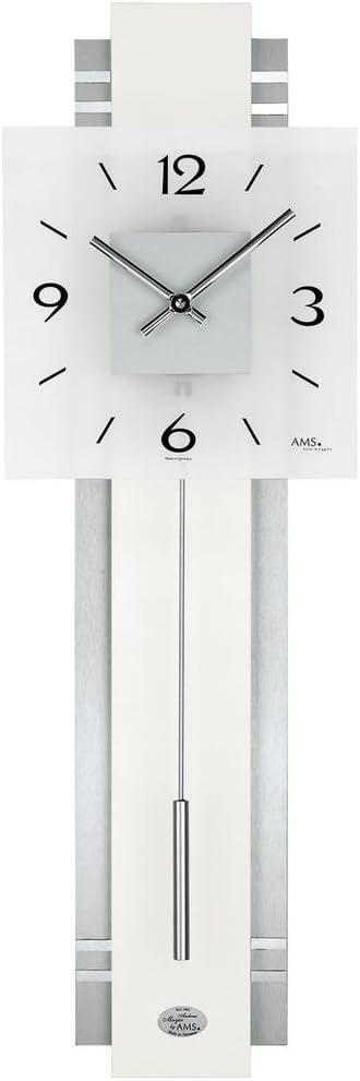 AMS 7302 - Reloj de Pared de péndulo bajo Nivel de Ruido, Moderno, de Madera, Metal y Esfera de Cristal, péndulo Estrecho